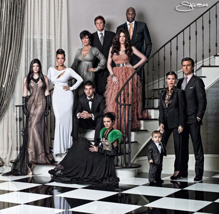 Looking much grown up in a family photo, Kendall and Kylie look very high-fashion.