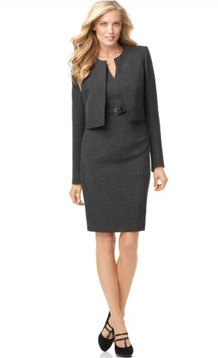 Belted sheath dress with a long sleeve jacket