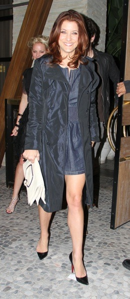 Kate Walsh in black coat