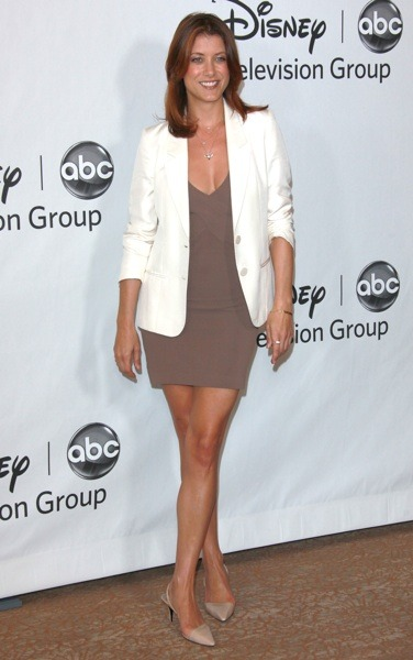 Kate Walsh in taupe dress