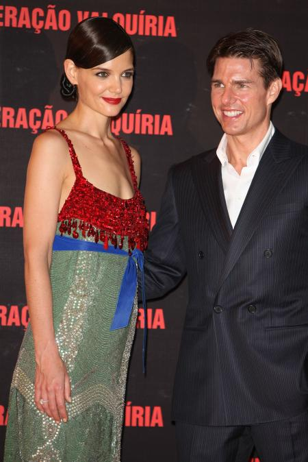 Katie Holmes and Tom Cruise at his Valkyrie film premiere