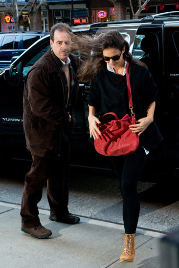 Katie Holmes outside her Manhattan hotel in NYC