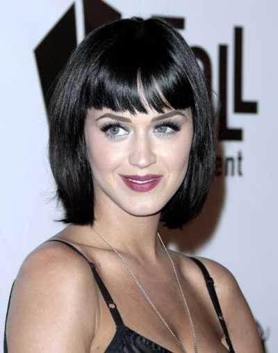 Katy Perry wore a long sexy bob with blunt bangs while attending the