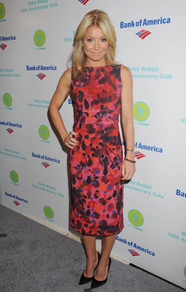 Kelly Ripa in multi-colored dress