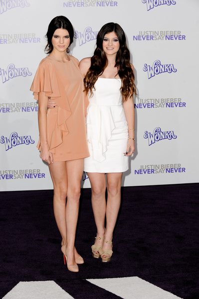Kendall and Kylie Jenner at the Never Say Never premiere.