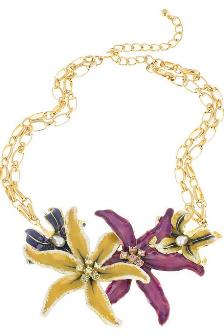 Kenneth Jay Lane Enamel Flower Necklace