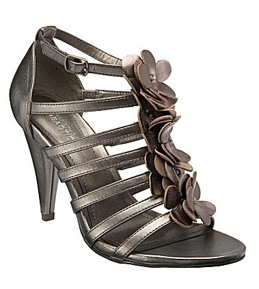 Strappy Metallic Leather Flower-Detail Heels