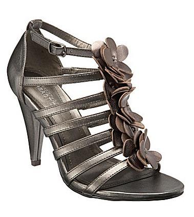 Strappy Metallic Leather Flower-Detail Heels