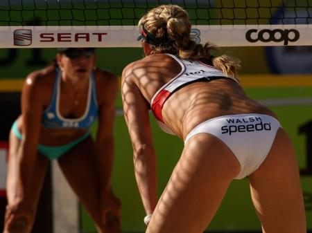 Kerri Walsh Waits for a Serve