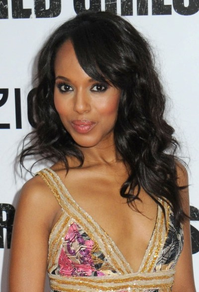 Kerry Washington's long, curly hairstyle