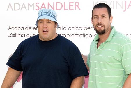 Kevin James and Adam Sandler at the press event for I Now Pronounce You Chuck and Larry