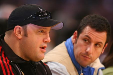 Kevin James talks to Adam Sandler at Lakers game