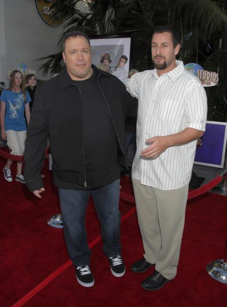 Kevin James and Adam Sandler are pictured at Universal Studios
