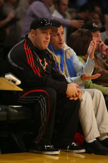 Kevin James and Adam Sandler together at the Lakers game