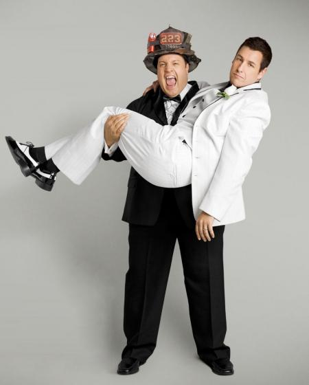 Adam Sandler gets carried by Kevin James