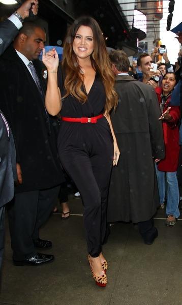 Khloe Kardashian with red belt