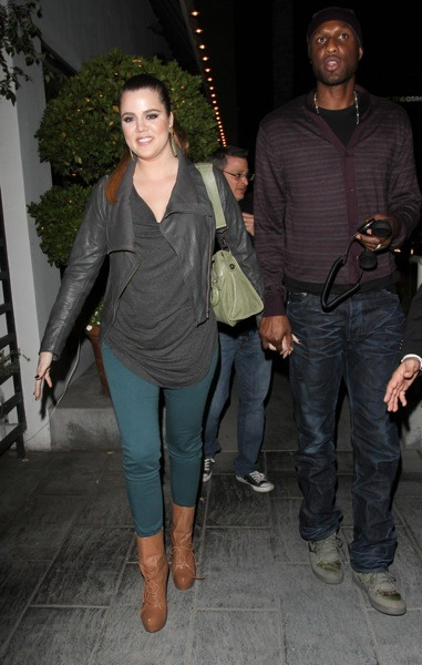 Khloe Kardashian in green skinny jeans