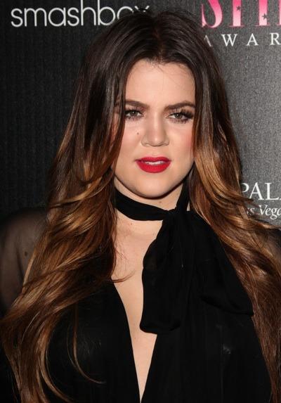 Khloe Kardashian with bright lips