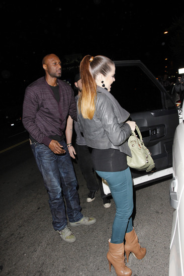 Khloe Kardashian and Lamar Odom leaving dinner