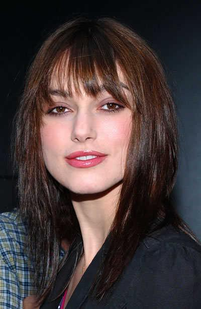 Keira Knightley's Brunette Hairstyle with Bangs