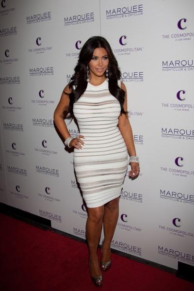 Kim Kardashian in a sweater dress