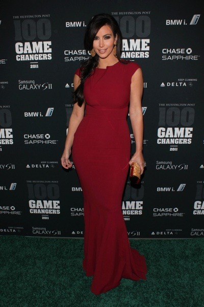 Kim Kardashians in red gown