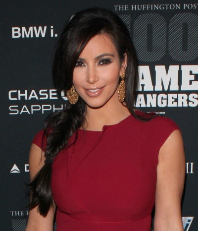 Kim Kardashian with loose braid