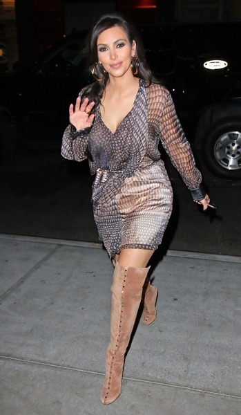 Kim Kardashian in sheer sleeves