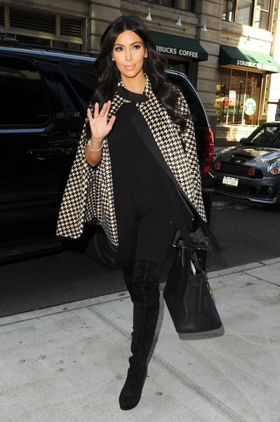 Kim Kardashian in houndstooth cape