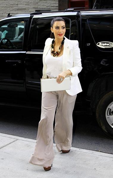 Kim Kardashian in white blazer