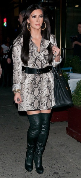 Kim Kardashian in leather boots