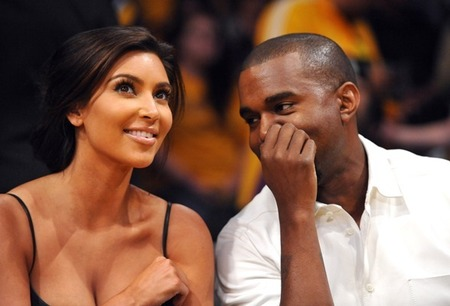 Kimye at Lakers basketball game