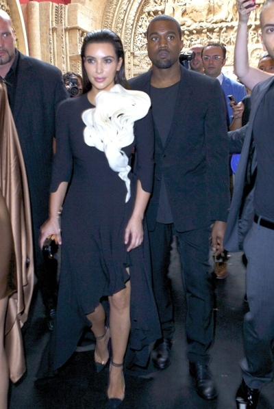 Kim Kardashian and Kanye West at Paris Fashion Week