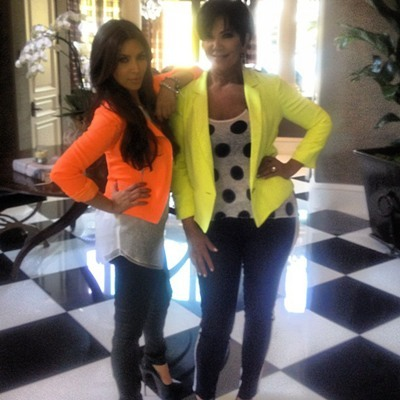 The Kardashians pose in neon