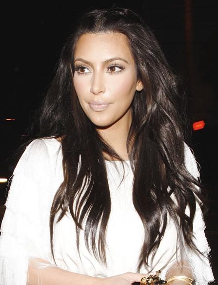 Kim Kardashian's luscious brunette hairstyle