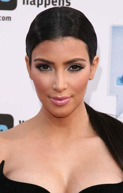 Kim Kardashian's Low Sleek Ponytail with Center Part