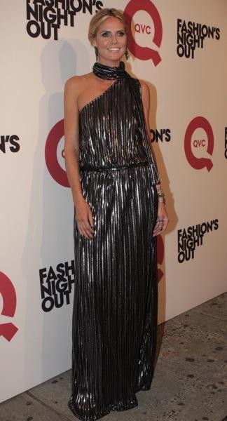 Heidi Klum in a metallic dress
