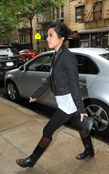 Kourtney Kardashian in two-toned boots