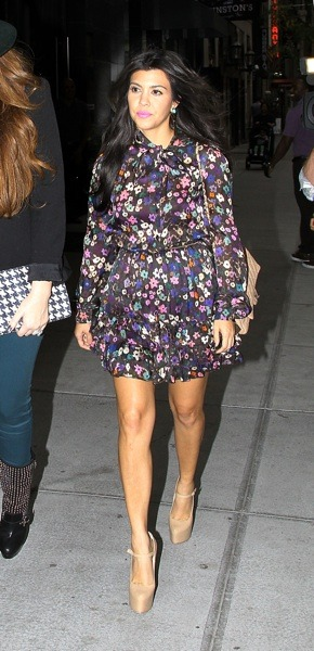 Kourtney Kardashian in floral print