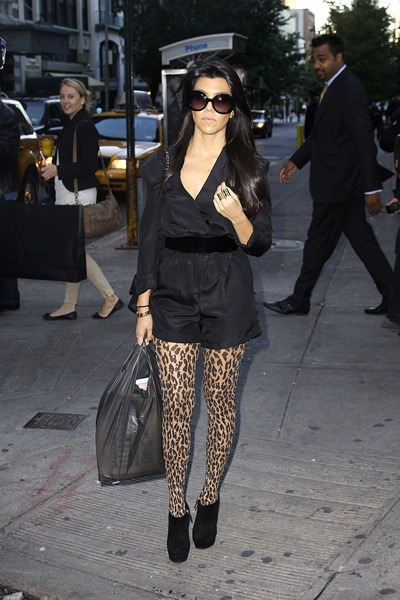 Kourtney Kardashian in patterned tights