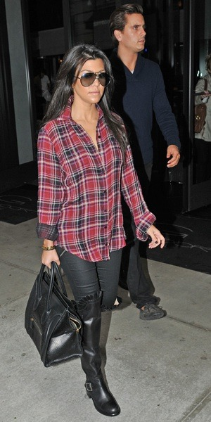 Kourtney Kardashian in plaid