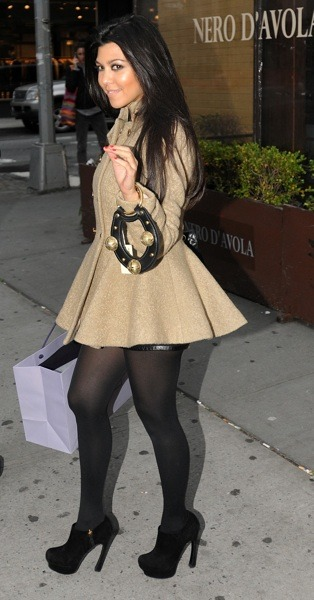 Kourtney Kardashian in a tan coat