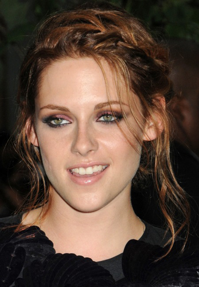 Kristen Stewart's braided, messy updo hairstyle