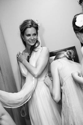 The bride getting her finishing touches