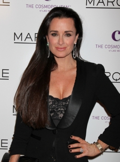 Kyle Richards' long, brunette hairstyle