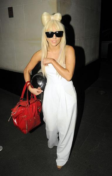 Lady Gaga in a jumper and hair bow