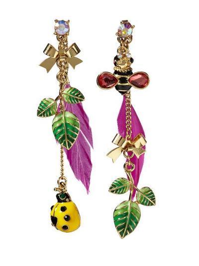 Lady Bug Feather Earrings