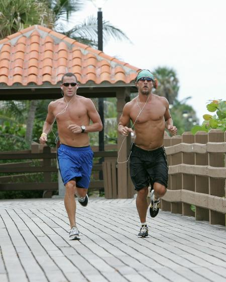 Lance Armstrong and Matthew McConaughey stay in shape