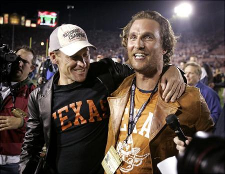 Lance Armstrong and Matthew McConaughey at football game