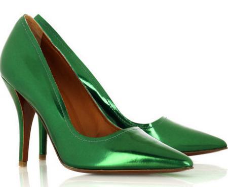 Lanvin Metallic Green Pumps